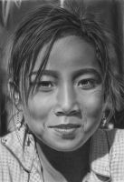 Pencil portrait of a Khamu Girl by LateStarter63