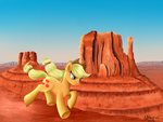 AppleJack racing through monument valley by Violetdreamzz