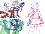 Recent Commission WIPs by ArtieDrawings