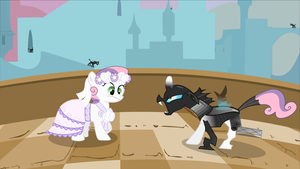Sweetie Bot meets Changeling by Serendipony