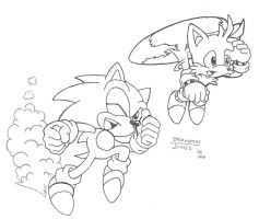 Tails and Sonic by LeatherRuffian