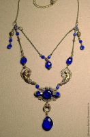 Royal Blue Victorian Brass Steampunk Necklace by Johanna-Ferrius