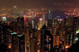 Hong Kong at night by raeid