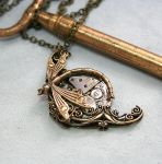 Victorian Steampunk Dragonfly Necklace by byrdldy