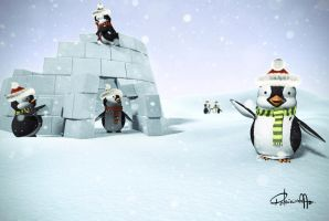 Penguins 3d by patyshady