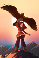 Mongolian Girl with her eagle by jisook86