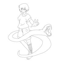 boy with snake (outlines) by oOkikiOo
