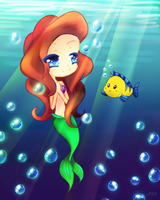 Ariel and Flounder by xRainbowMelody