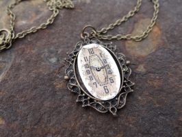 Steampunk watch face necklace by Hiddendemon-666