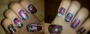 Custom Nails 1-Cherry Blossom by XOMBIE-OCTOPUS-QUEEN