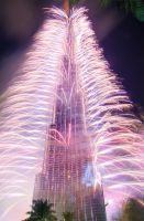 Burj Khalifa - New Year 2013 -- with fireworks by PhiloGraphic