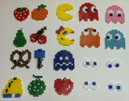 Perler Bead: Pac-Man Sprite Sheet by thewiredslain