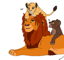 Simba and cubs base by Kera73
