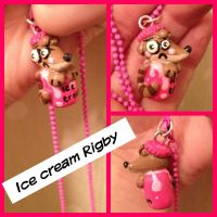 Ice cream Rigby charm commission by MissLate4Tea