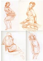 Figure drawing - quick drapery studies by hakepe