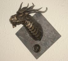 large bronzed dragon head by dragonsculptor