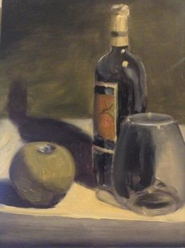 Wine and Apple Still Life by RobSThompson