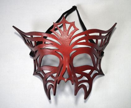 Red Jasmine handmade lether mask by Shadows-Ink