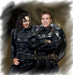 Bucky and Steve - Friends as in past by LadyMintLeaf