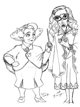 HP Umbridge and Trelawney by DemonCartoonist