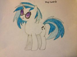 Vinyl Scratch Drawing by RcM595