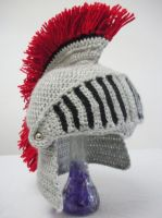 Crocheted Knight Helmet with Movable Visor by melibusla