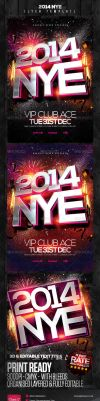 NEW YEAR FLYER PSD NYE 2014 by AudioNeptune