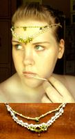 Green and Pearl Headpiece by ammajiger