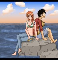 Timeskip Luffy and Nami by Kaschra