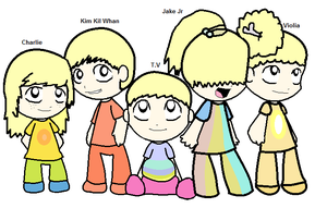 Adventure Time Jake's Pups Humanized by ABtheButterfly