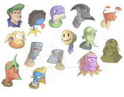Some Aliens faces by alessandelpho
