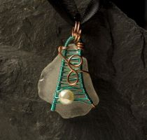 Sea glass pendant # 37 by Freak7109