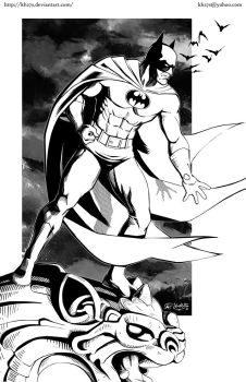 Batman on a Gargoyle - Inks by kh27s