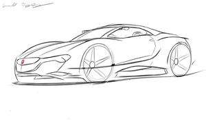 Honda NSX sketch by dyrborgdesign