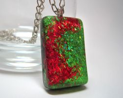 Green + Red Glitter Pendant by ExperienceDesigns