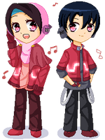 Kiriban: Tia and Fizzu -Pixel- by Q-iu