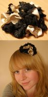Black Lace and Gold Ribbon Hat by cornerbound
