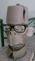 Office ape with Fez jug-WIP by thebigduluth