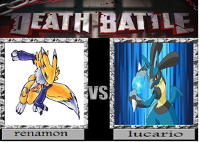 death battle renamon vs lucario by amyrosefan17