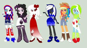 Mane 6- Equestria Girls by C0I0R