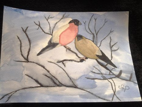 Two bullfinches by Dragonmaster003
