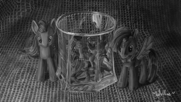 Doctor Whooves, Amy, and a glass full of dinosaurs by wulfae