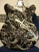 air brush dragon guitar comission by 3ird