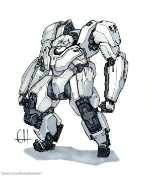 Inktober Day 18 (Yeti Exo-Suit) by Tekka-Croe