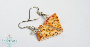 Commission - Cheese Pizza Slice Earrings by Bon-AppetEats