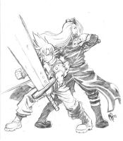 Cloud and Sephiroth Sketch by MarcelPerez
