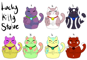 FREE ADOPTABLES - Lucky Kitty Statue (CLOSED) by Rafflexia