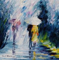 Rain and Friends by Leonid Afremov by Leonidafremov