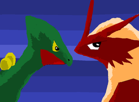 Sceptile and Blaziken Face-Off by coolsarahkry