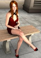 Redhead In Little Red Dress by WibbitGuy